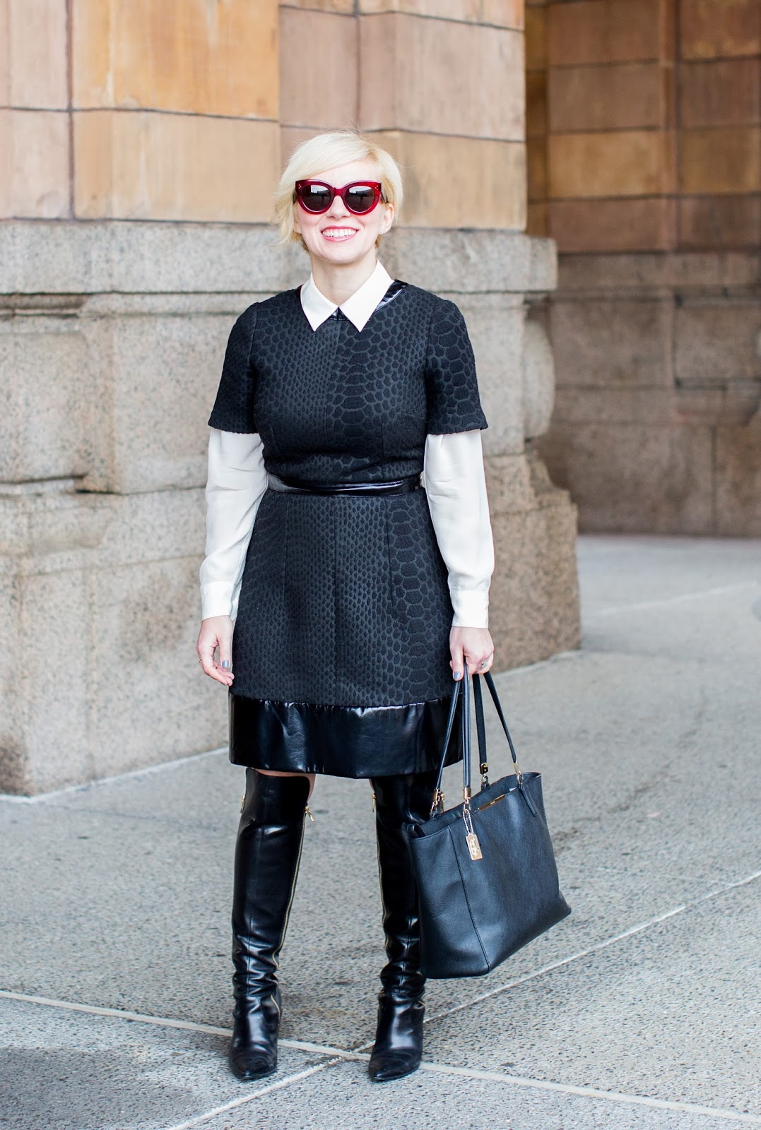 how to, what to wear, 3 ways to wear, apple shape, shirt, button up, leather, dress, workwear, over the knee boots, collared shirt, over 30, layering, monochrome, apple shape
