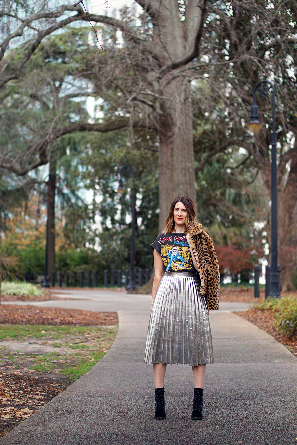 midi skirt, metallic skirt, silver skirt, pleated skirt, women's fashion, fashion, style, casual style, casual outfit, every day, weekend wear, band t-shirt, tee, rock t-shirt, alternative, rock, metal, layering, how to, how to wear, three ways to wear, pear shape, leopard print, faux fur, ankle booties