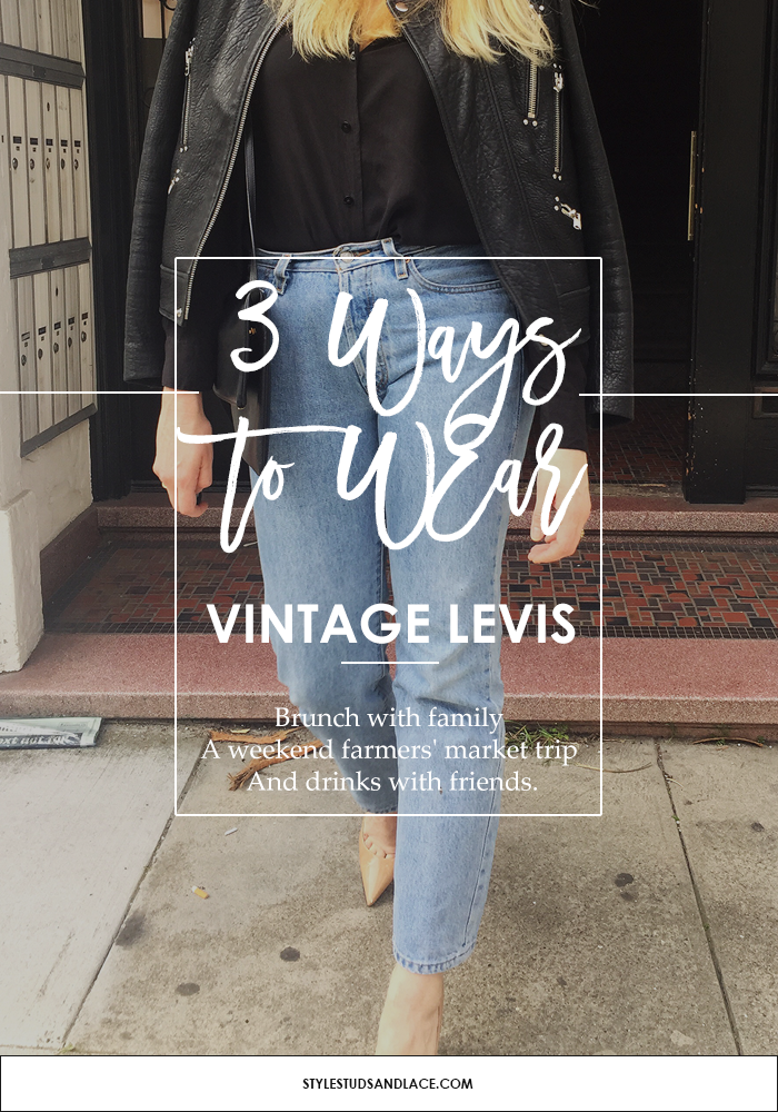 Levis, jeans, denim, vintage, how to, summer, spring, casual, every day, style, women, fashion, inspiration, style tips, simple, look good, three ways to wear, how to, Silk blouse, Black silk, blouse, leather, heels, blouse, block heel, sandals, blazer, Boyfriend jacket, boyfriend jeans, jacket, tailored jacket, oversized, clutch, one shoulder, white, off the shoulder, Birkenstocks, hat