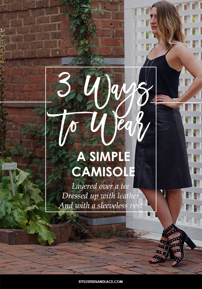 camisole, black, simple, chic, elegant, evening, dressy, casual, layering, summer, 2017 trend, how to, what to wear, 3 ways to wear, fashion, style, every day, spring, over 30, style help, style advice, fashion help, fashion advice, different ways, women, pear shaped, bottom heavy, body shape, circle skirt, full skirt, midi skirt, vintage, floral skirt, floral, leather, moto, mom jeans